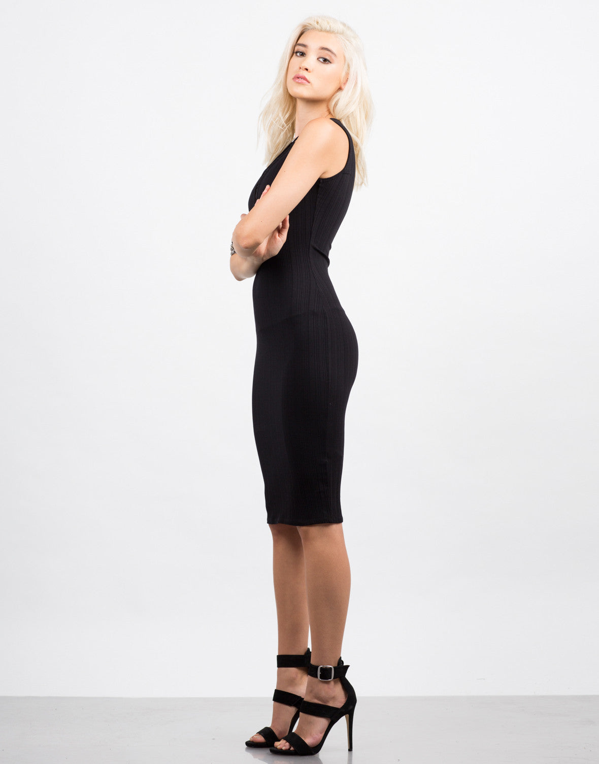 Side View of Ribbed Lace Up Dress