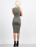 Back View of Ribbed Lace Up Dress