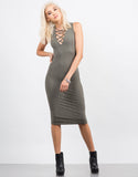 Front View of Ribbed Lace Up Dress