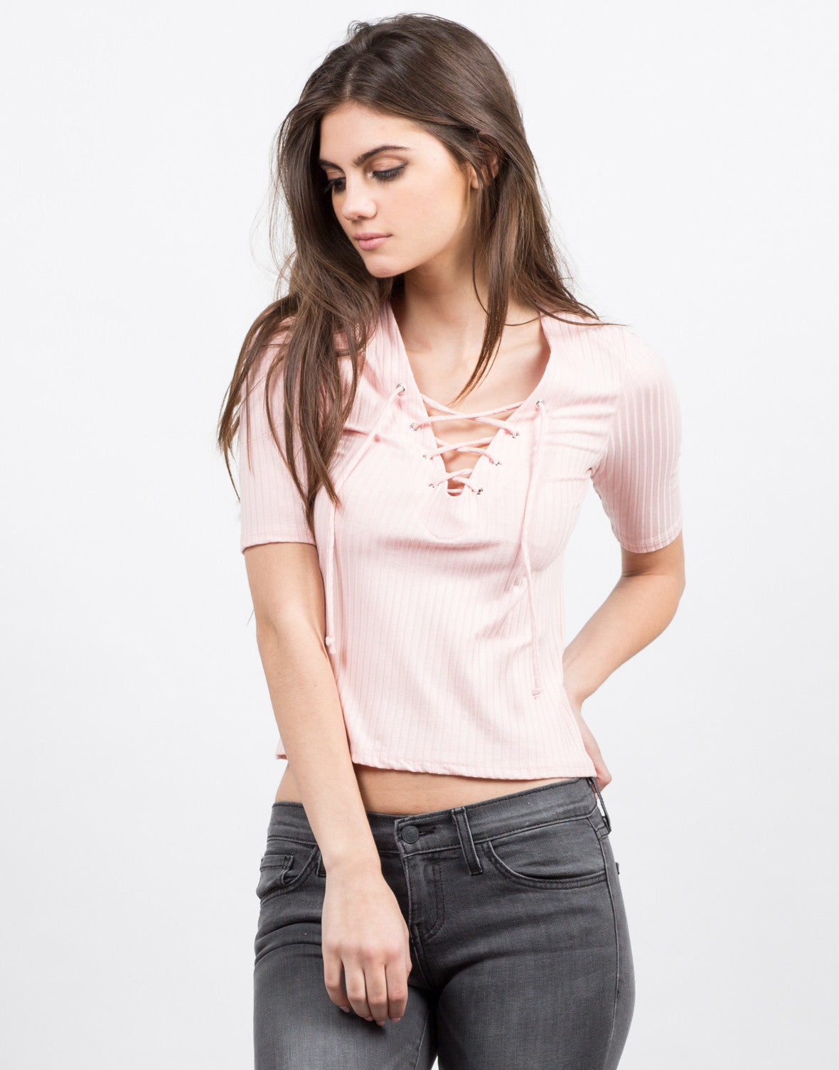 Front View of Ribbed Lace Up Top