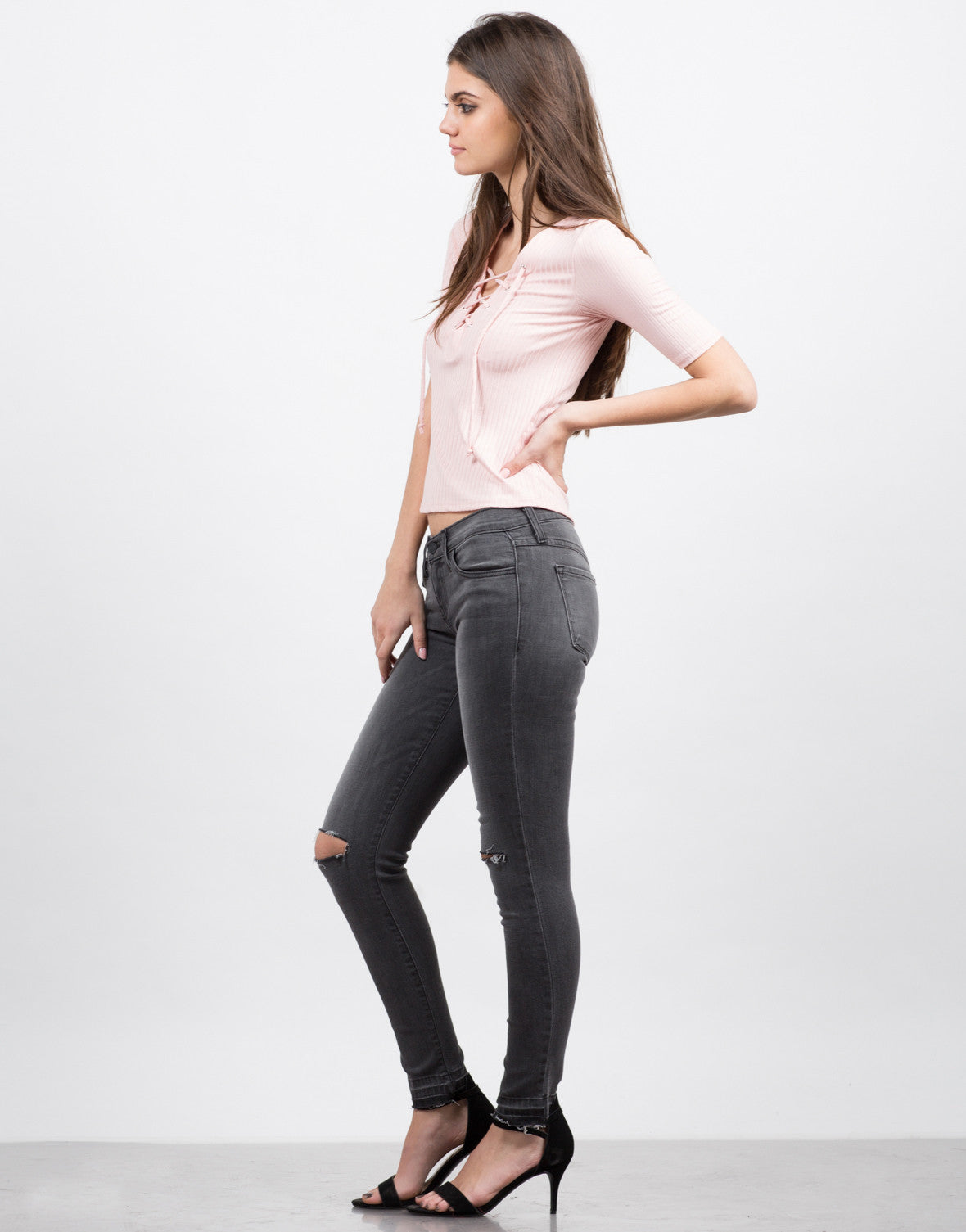 Side View of Ribbed Lace Up Top