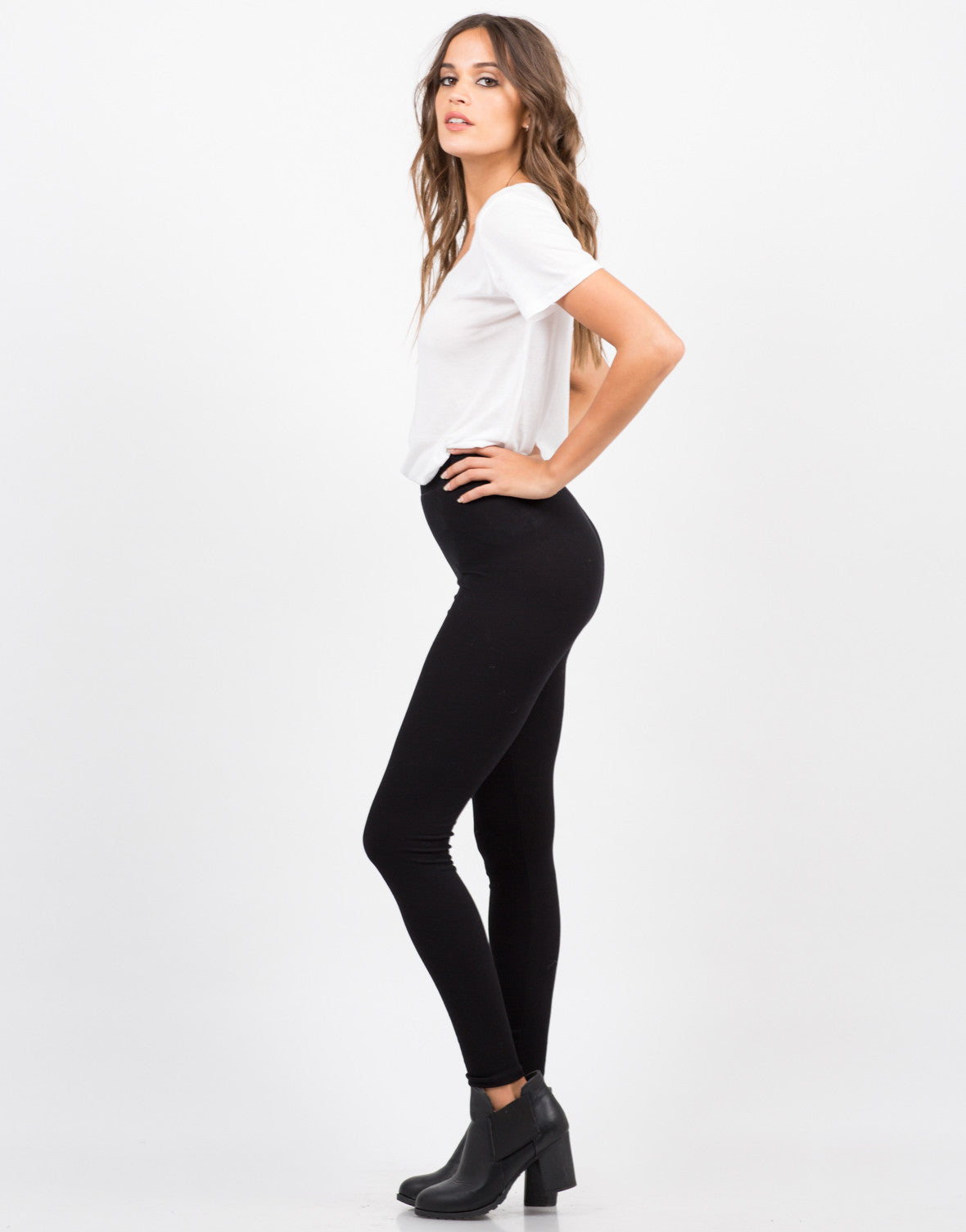 Side View of Ribbed Leggings