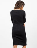 Back View of Ribbed Long Sleeve Bodycon Dress