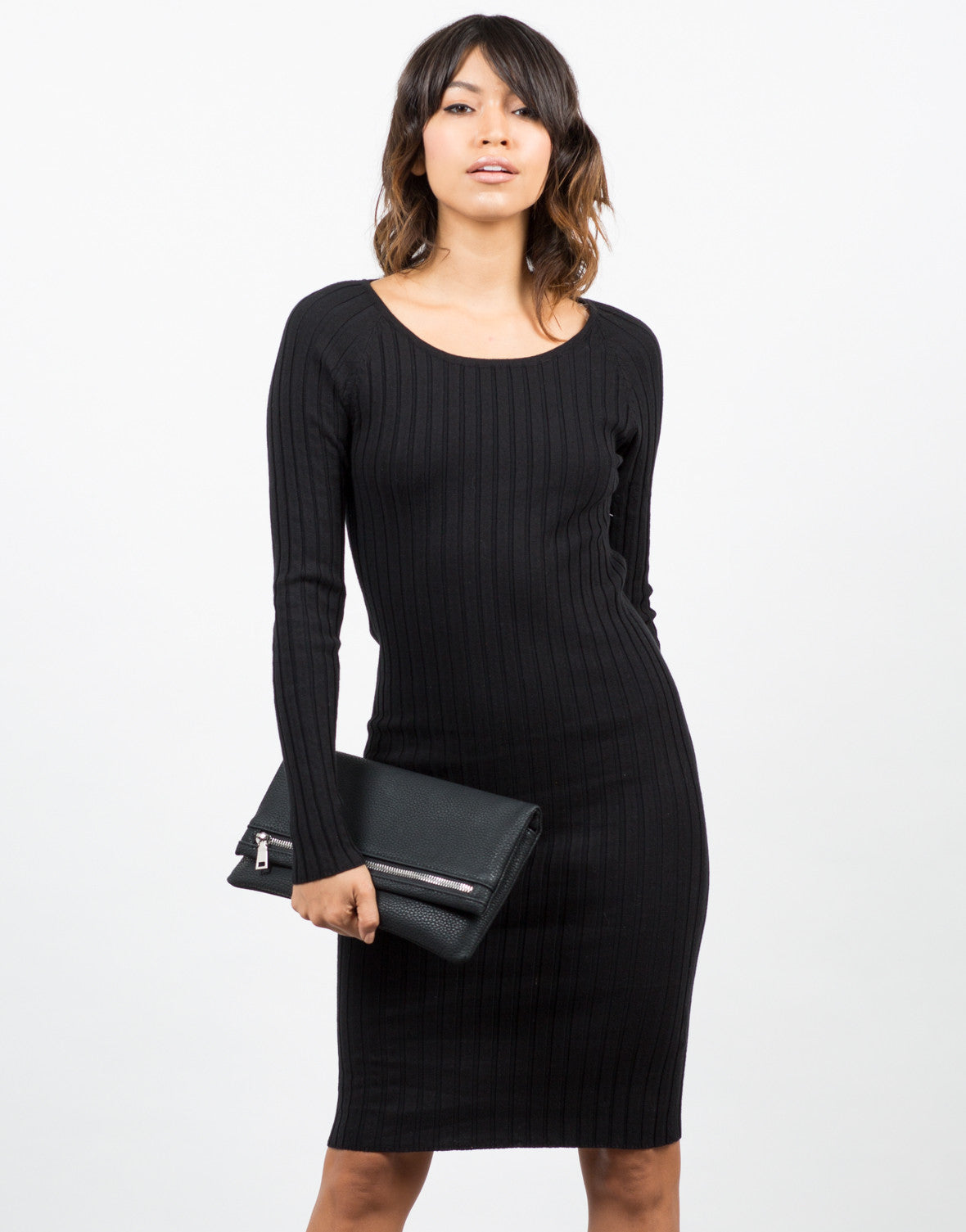 Front View of Ribbed Long Sleeve Bodycon Dress