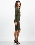 Side View of Ribbed Long Sleeve Bodycon Dress
