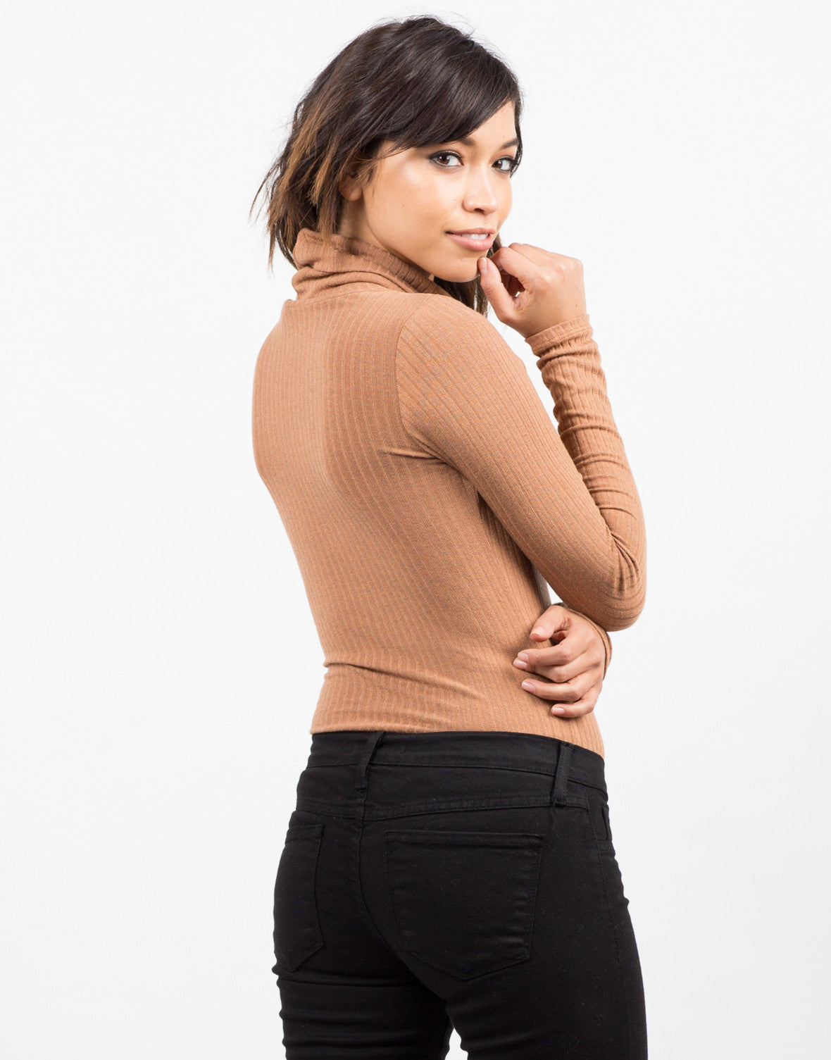 Back View of Ribbed Long Sleeve Bodysuit