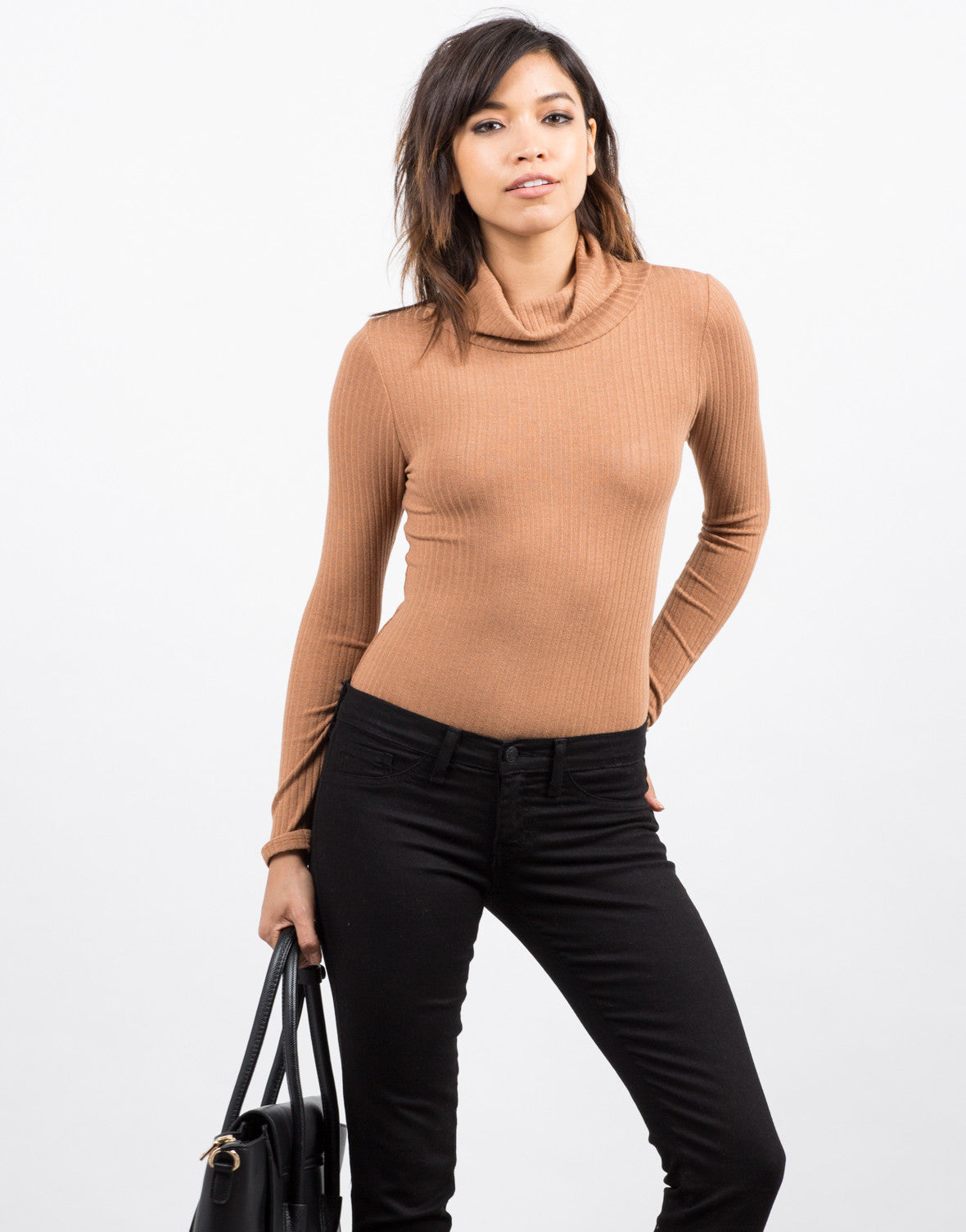 Front View of Ribbed Long Sleeve Bodysuit