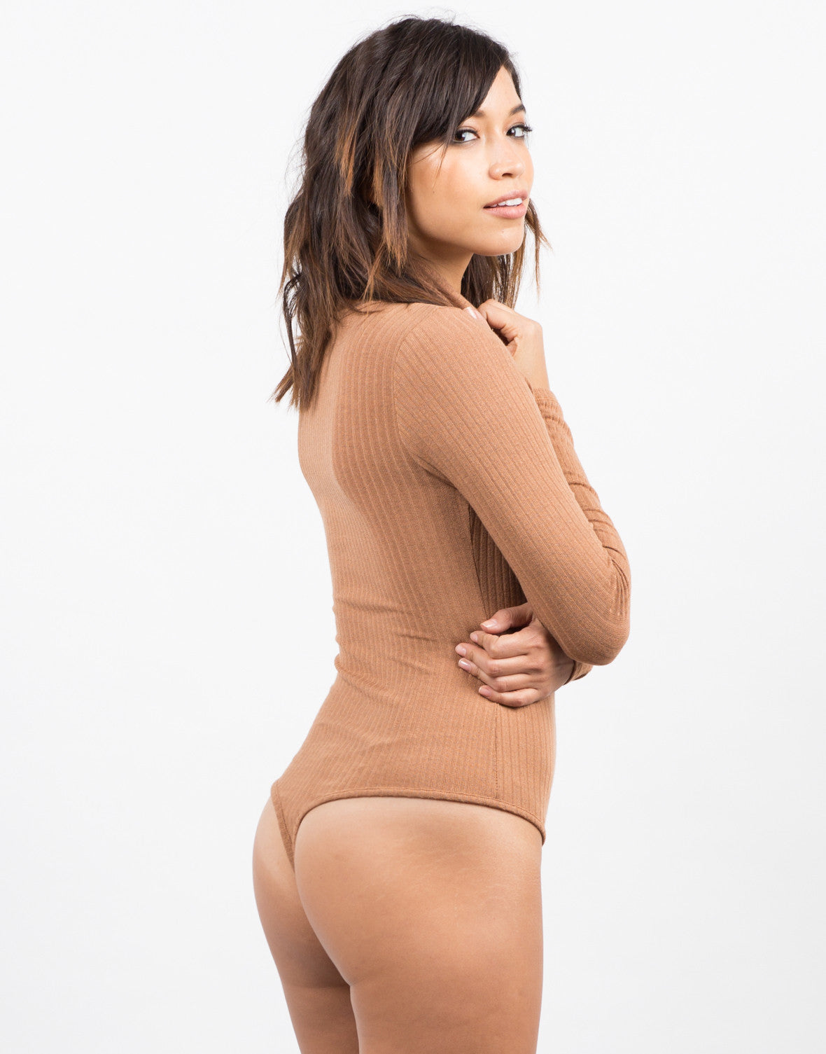 Side View of Ribbed Long Sleeve Bodysuit