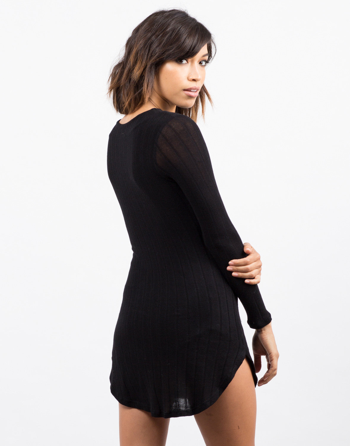Back View of Ribbed Long Sleeve Dress