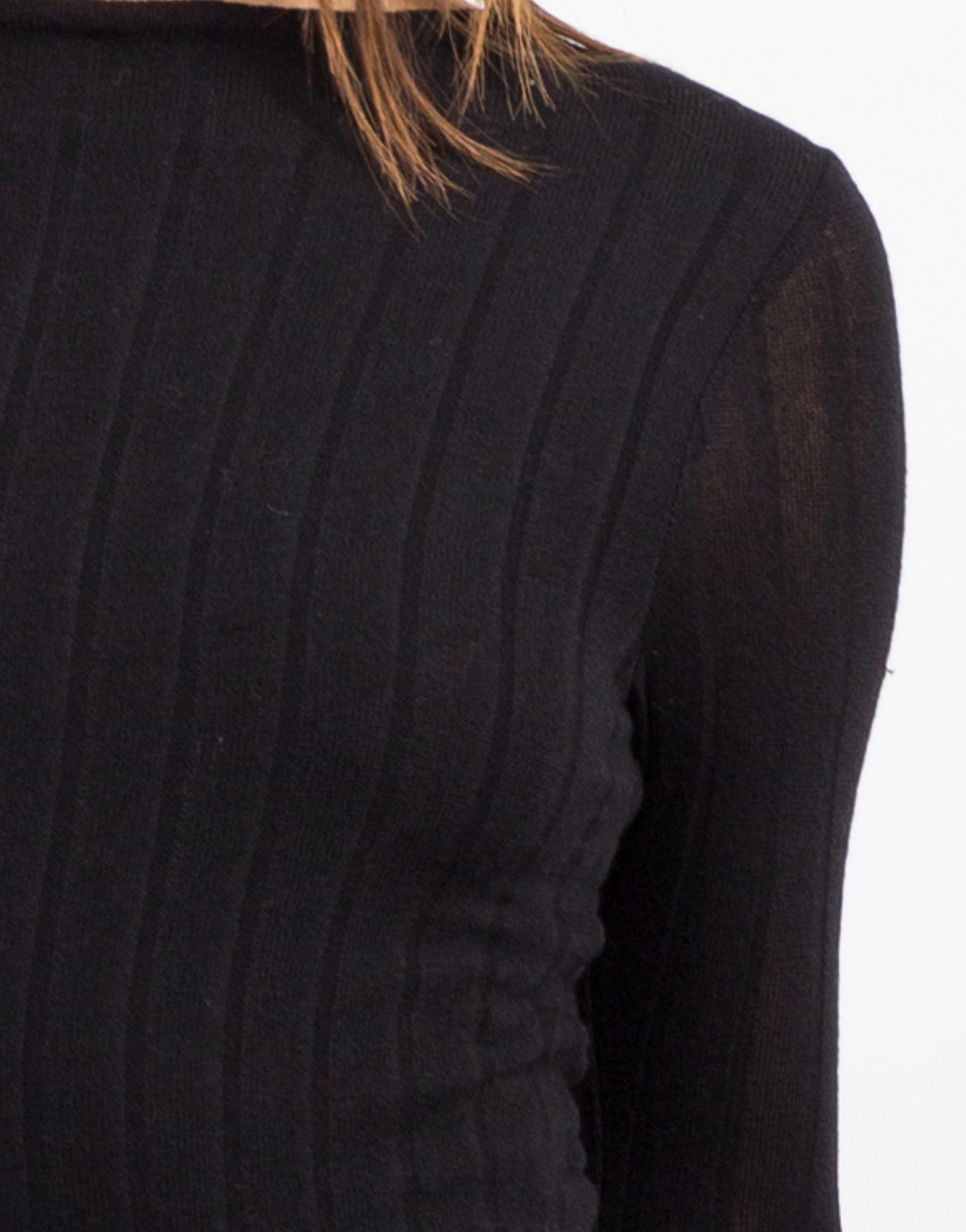 Detail of Ribbed Long Sleeve Dress