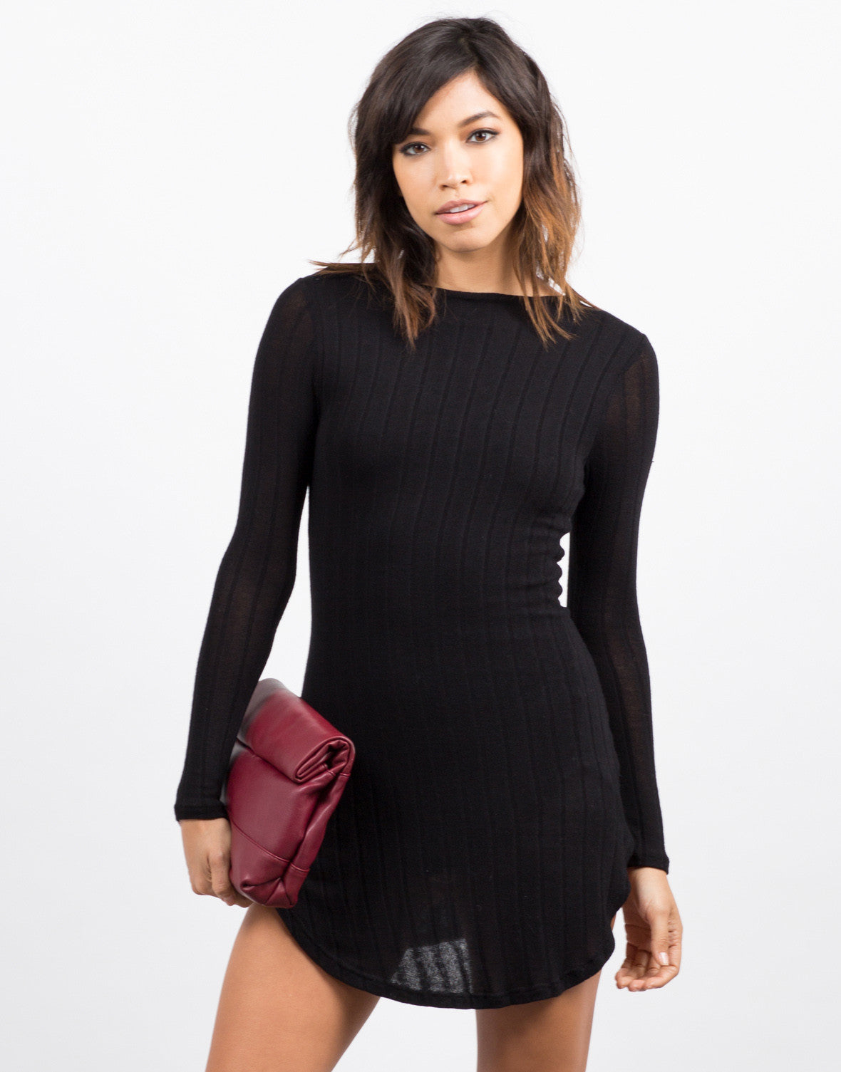 Front View of Ribbed Long Sleeve Dress