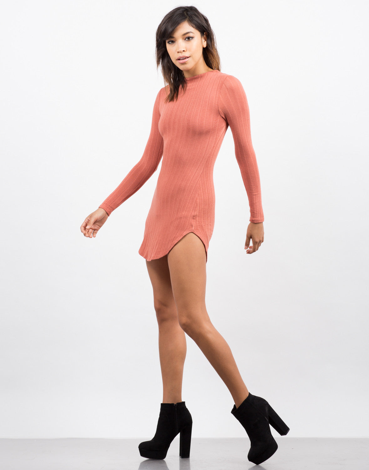 Side View of Ribbed Long Sleeve Dress