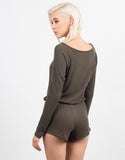 Back View of Ribbed Long Sleeve Romper
