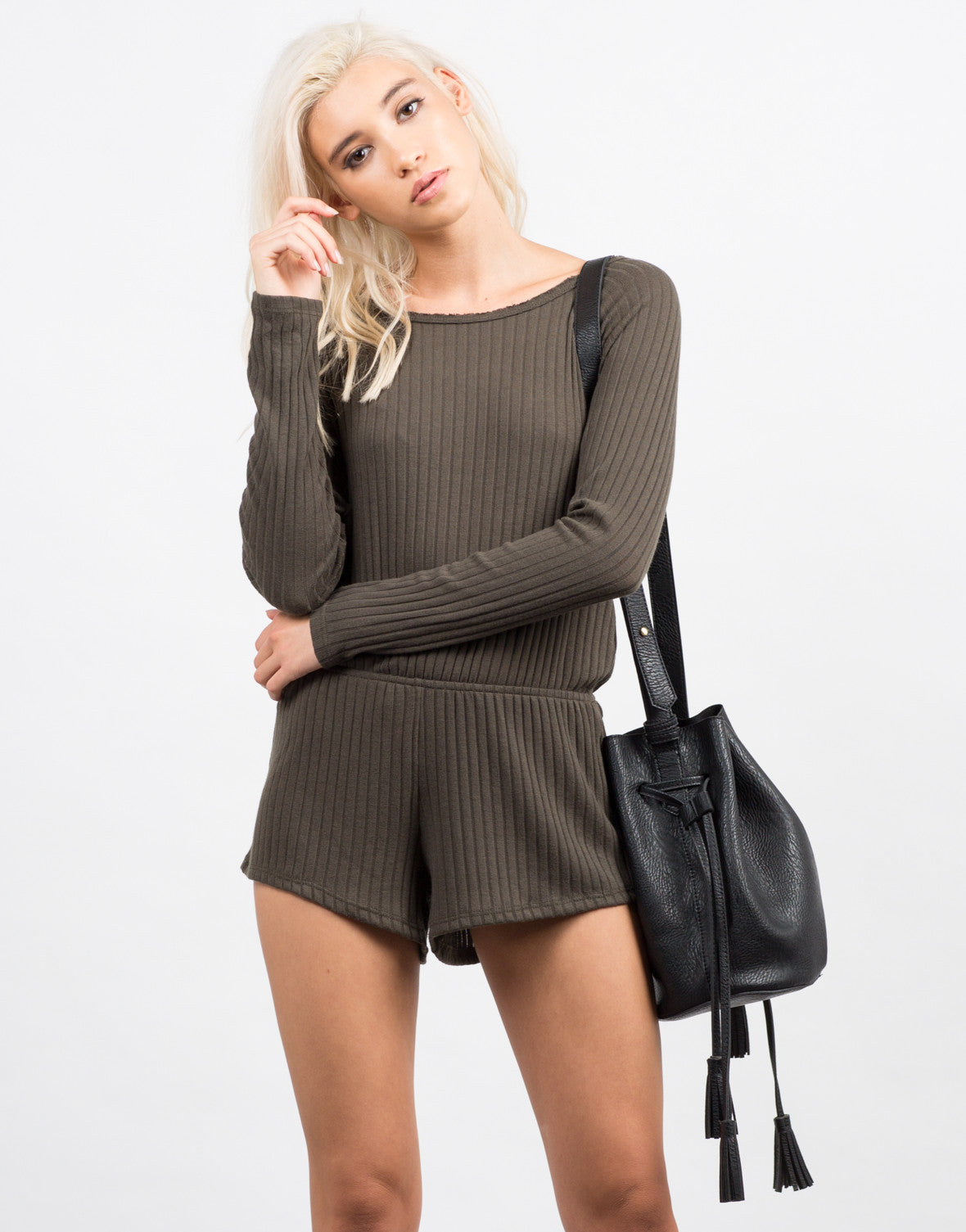 Front View of Ribbed Long Sleeve Romper