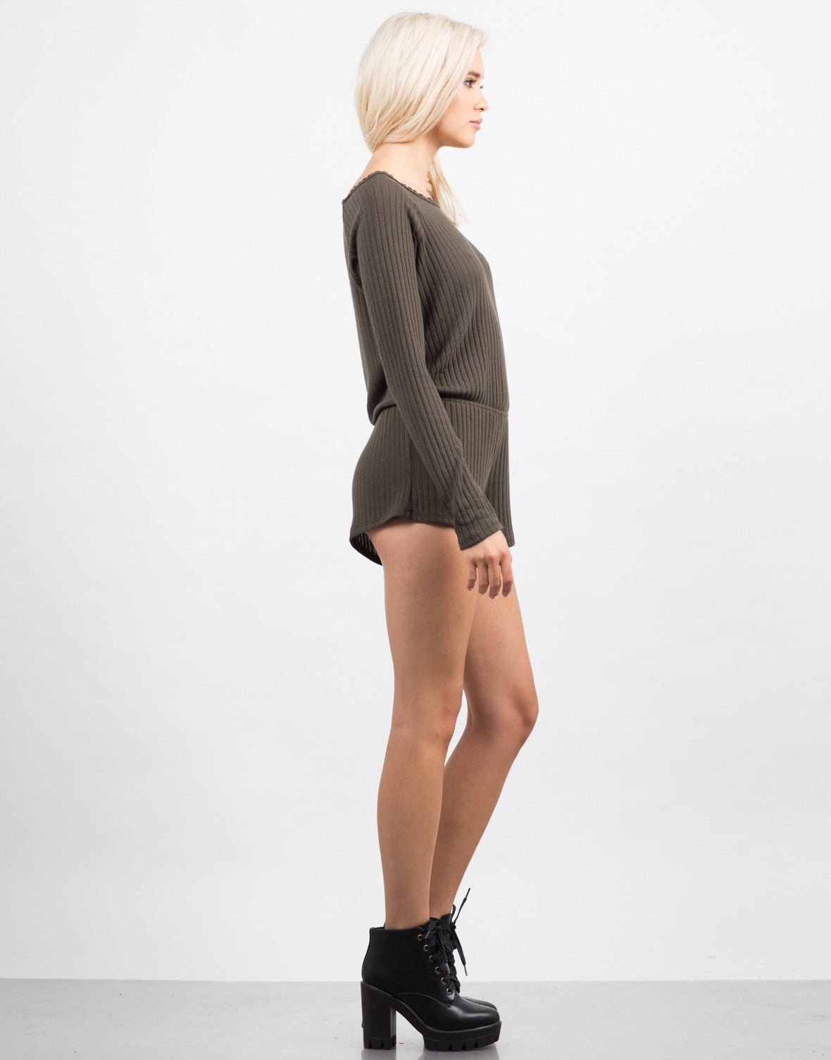 Side View of Ribbed Long Sleeve Romper