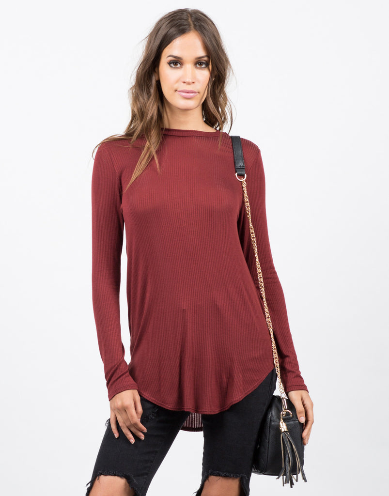 Ribbed Long Sleeve Tee - 2020AVE
