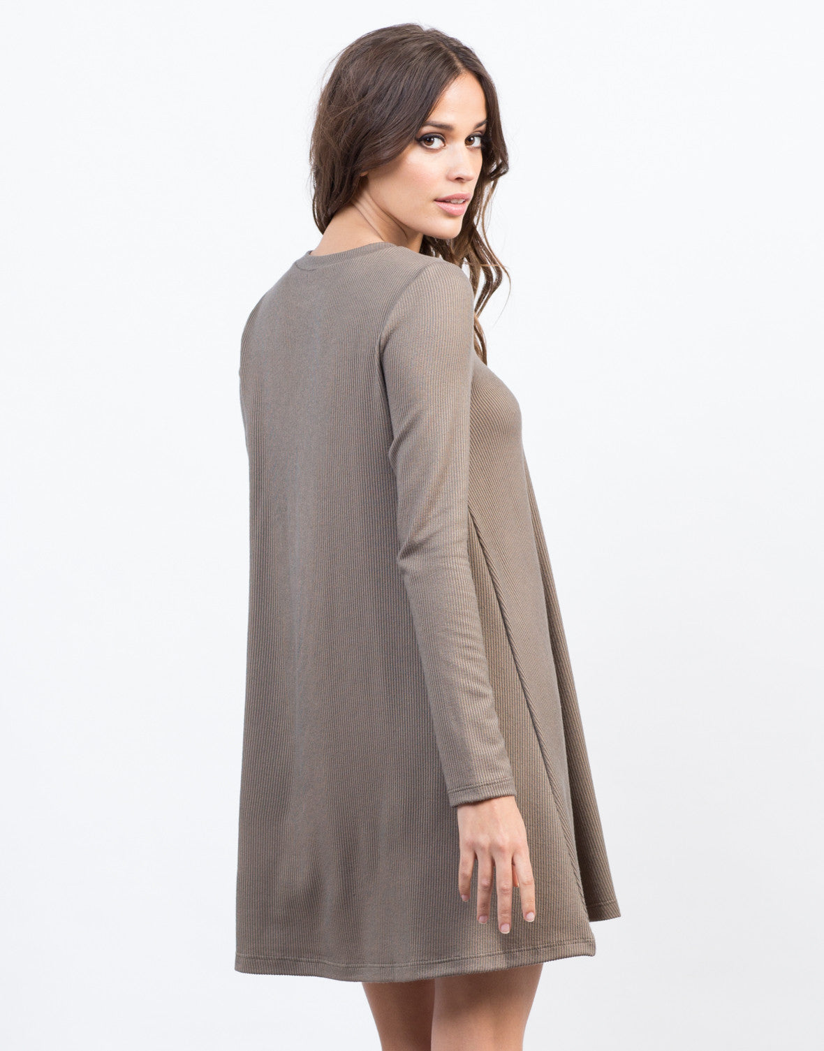 Back View of Ribbed L/S Dress