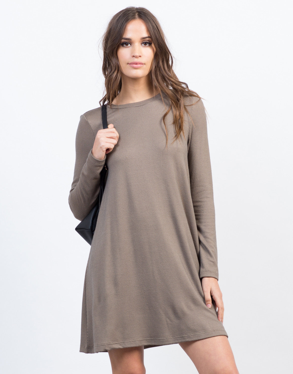 Front View of Ribbed L/S Dress