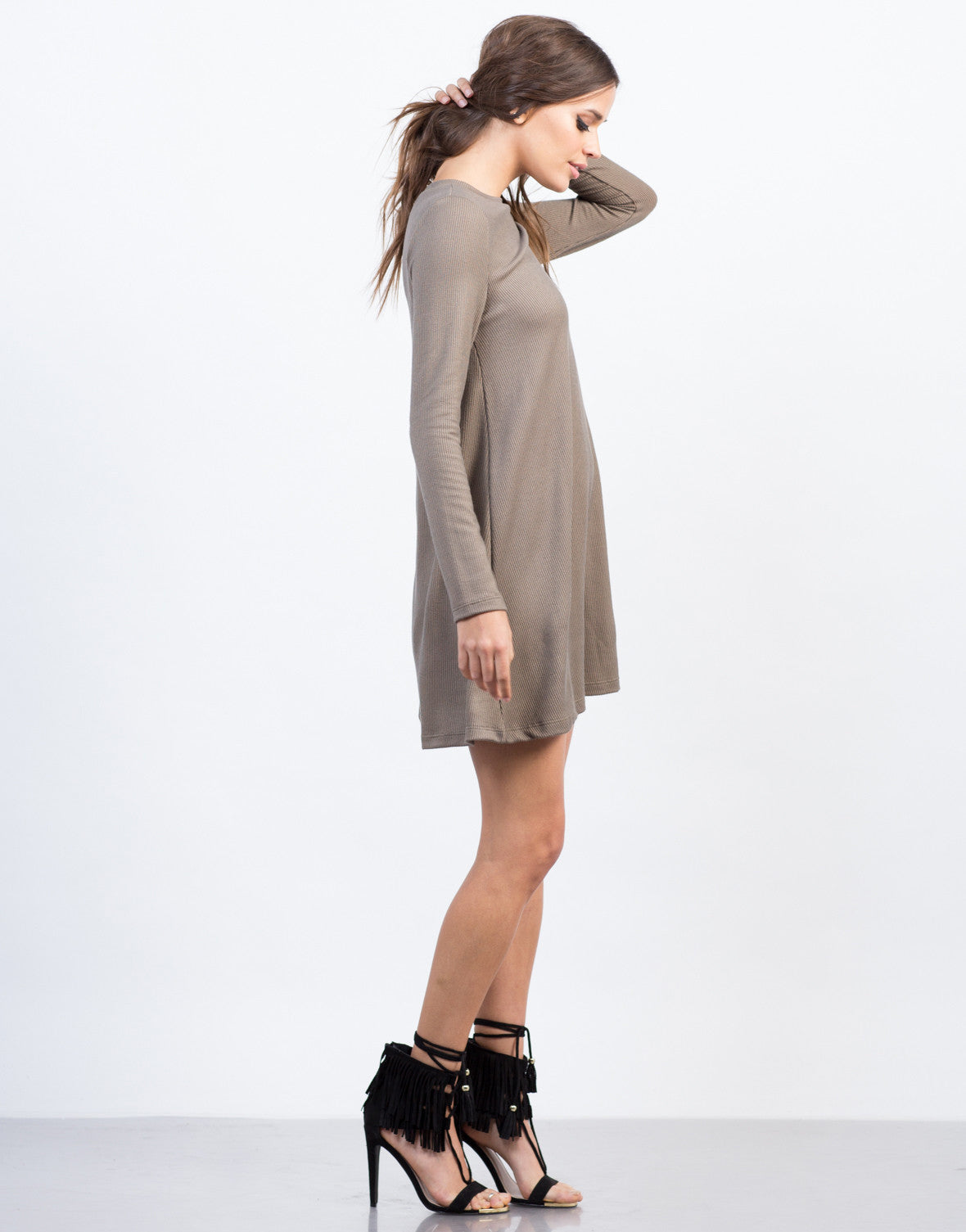 Side View of Ribbed L/S Dress