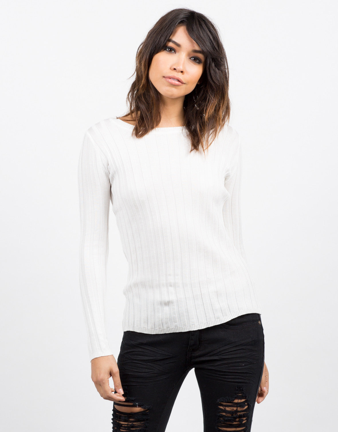 Front View of Ribbed L/S Top