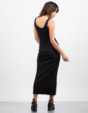 Back View of Ribbed Maxi Dress