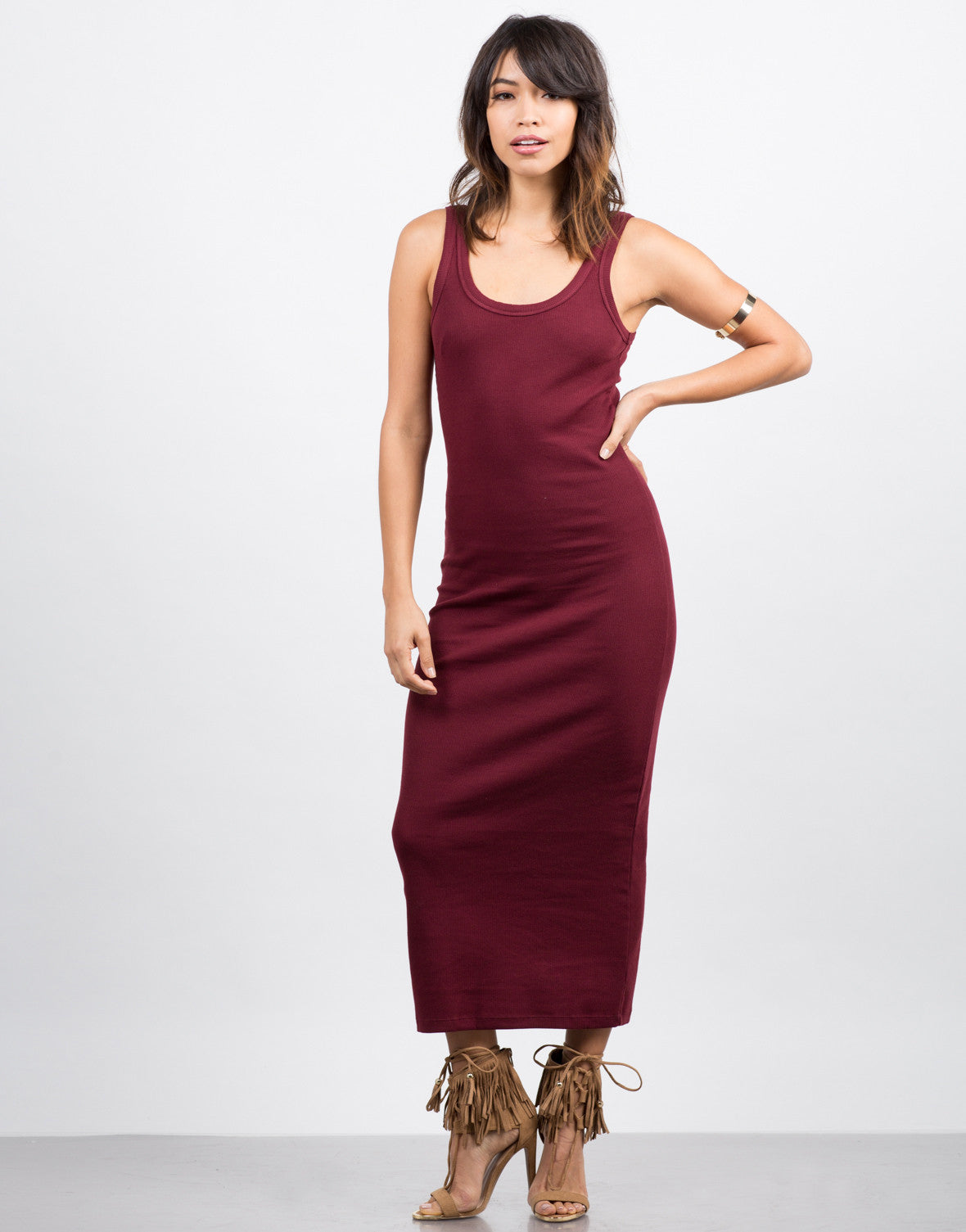 Front View of Ribbed Maxi Dress