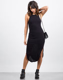 Front View of Ribbed Midi Dress