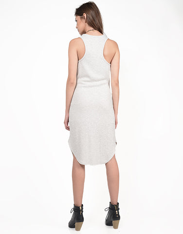 Back View of Ribbed Midi Knit Tank Dress