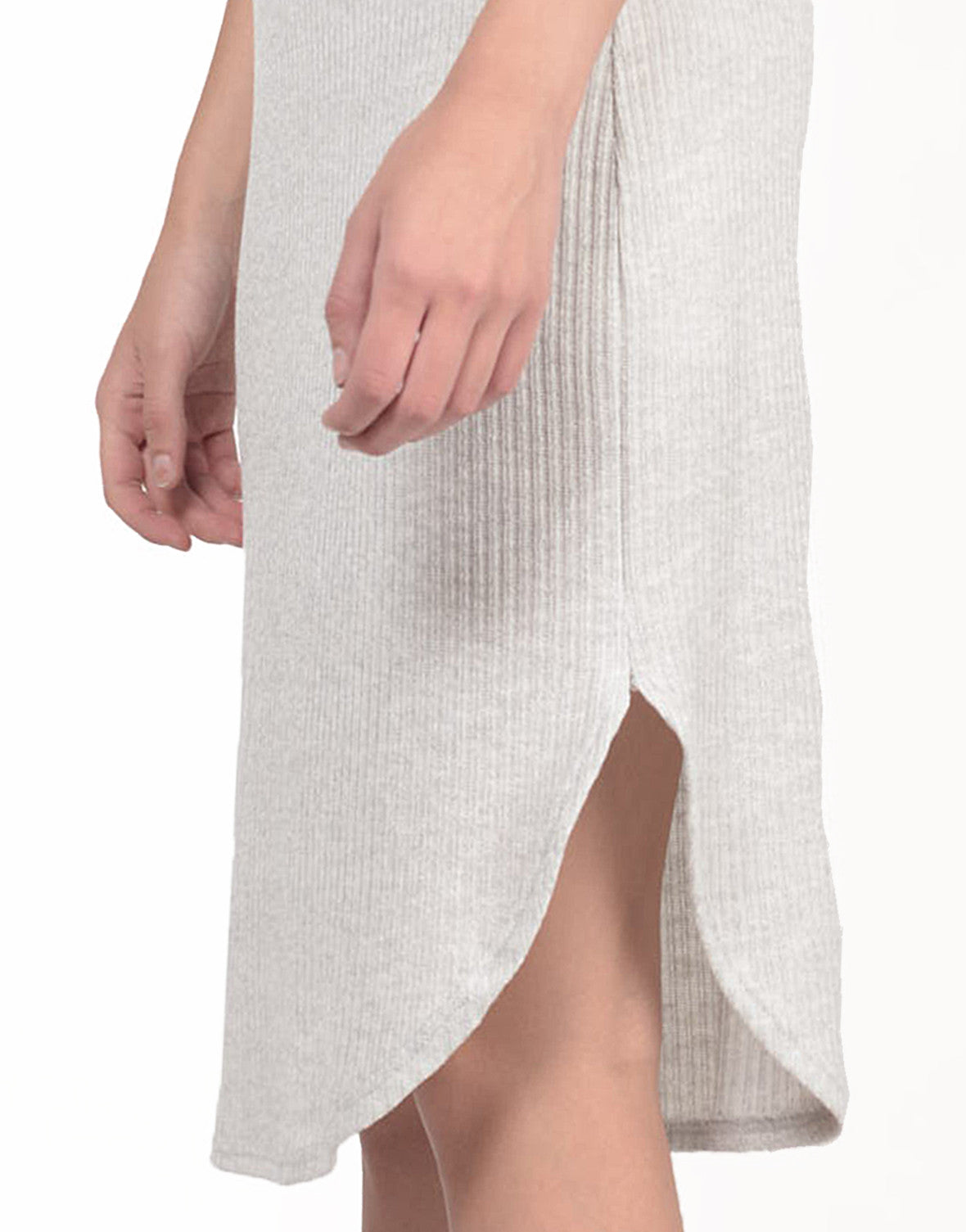 Detail of Ribbed Midi Knit Tank Dress