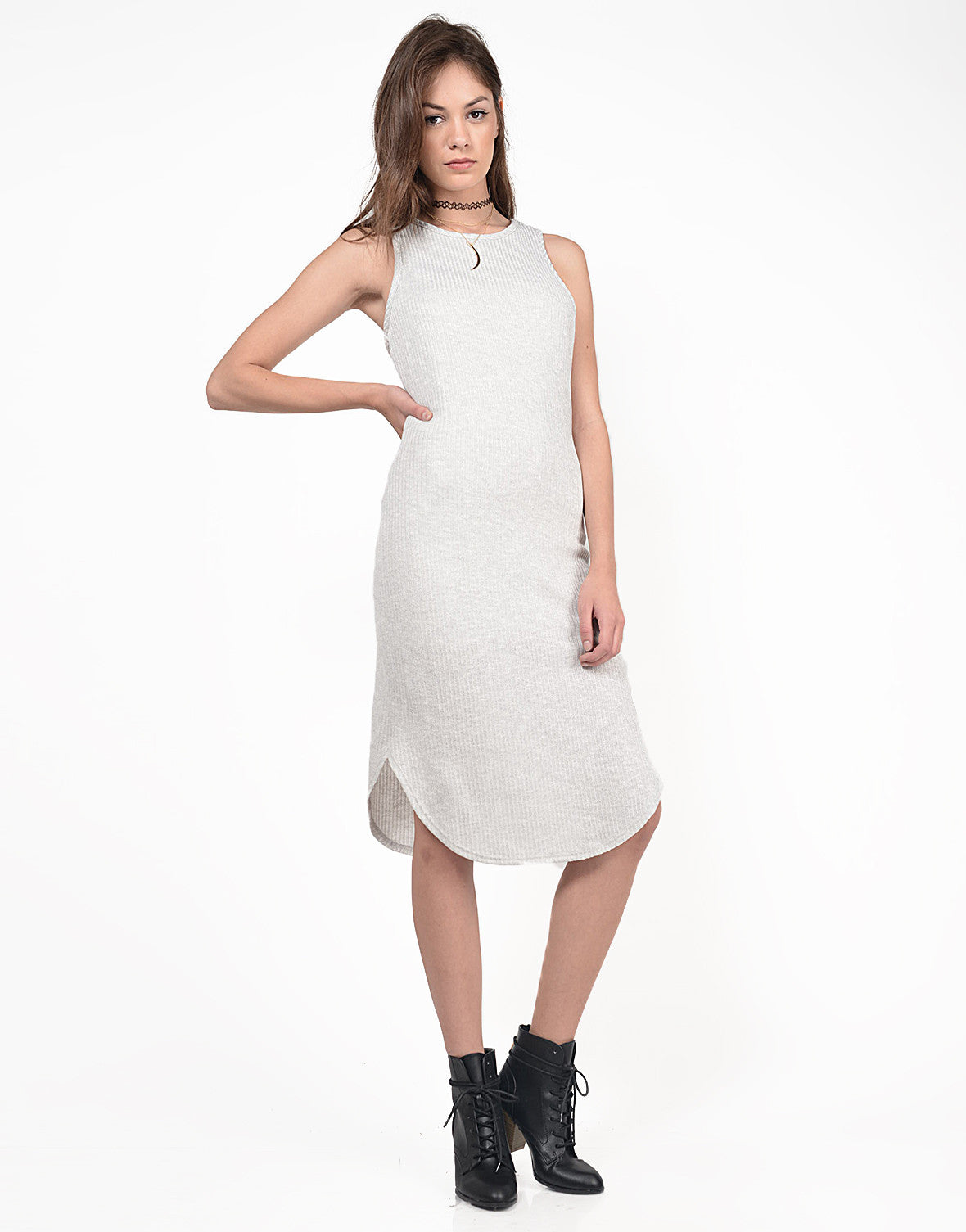 Front View of Ribbed Midi Knit Tank Dress