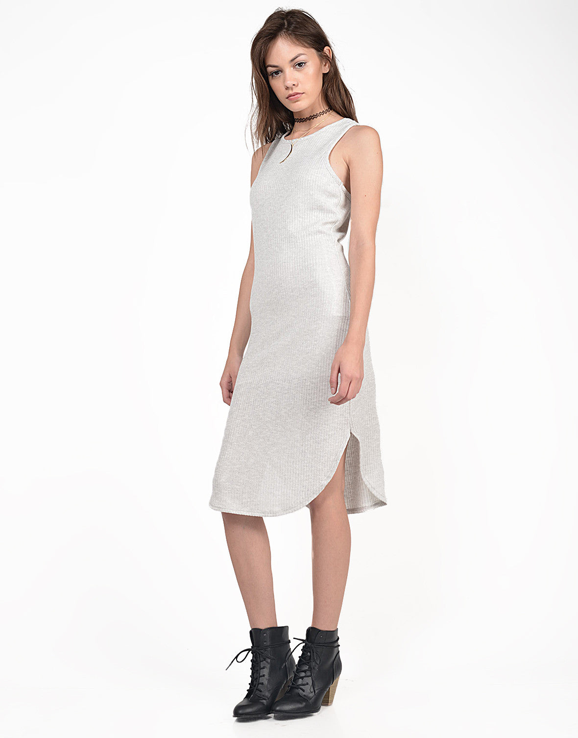 Side View of Ribbed Midi Knit Tank Dress