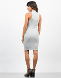 Back View of Ribbed Mock Neck Basic Dress