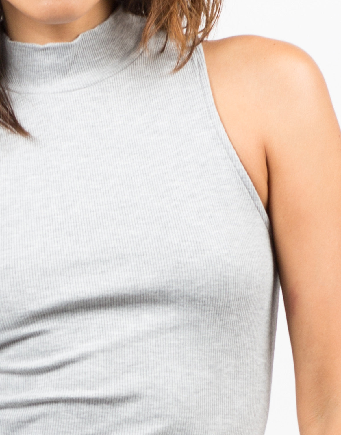 Detail of Ribbed Mock Neck Basic Dress