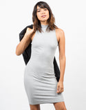 Front View of Ribbed Mock Neck Basic Dress