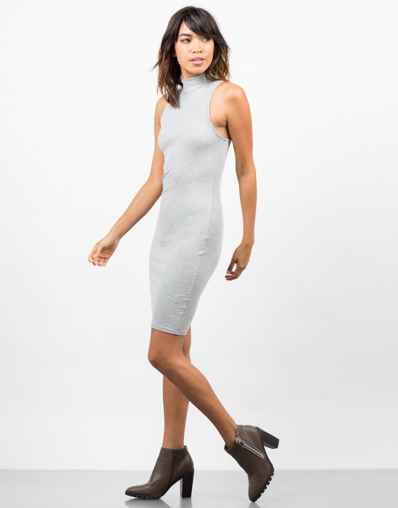 Ribbed Mock Neck Basic Dress - 2020AVE