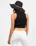 Back View of Ribbed Mock Neck Cropp Top - Black