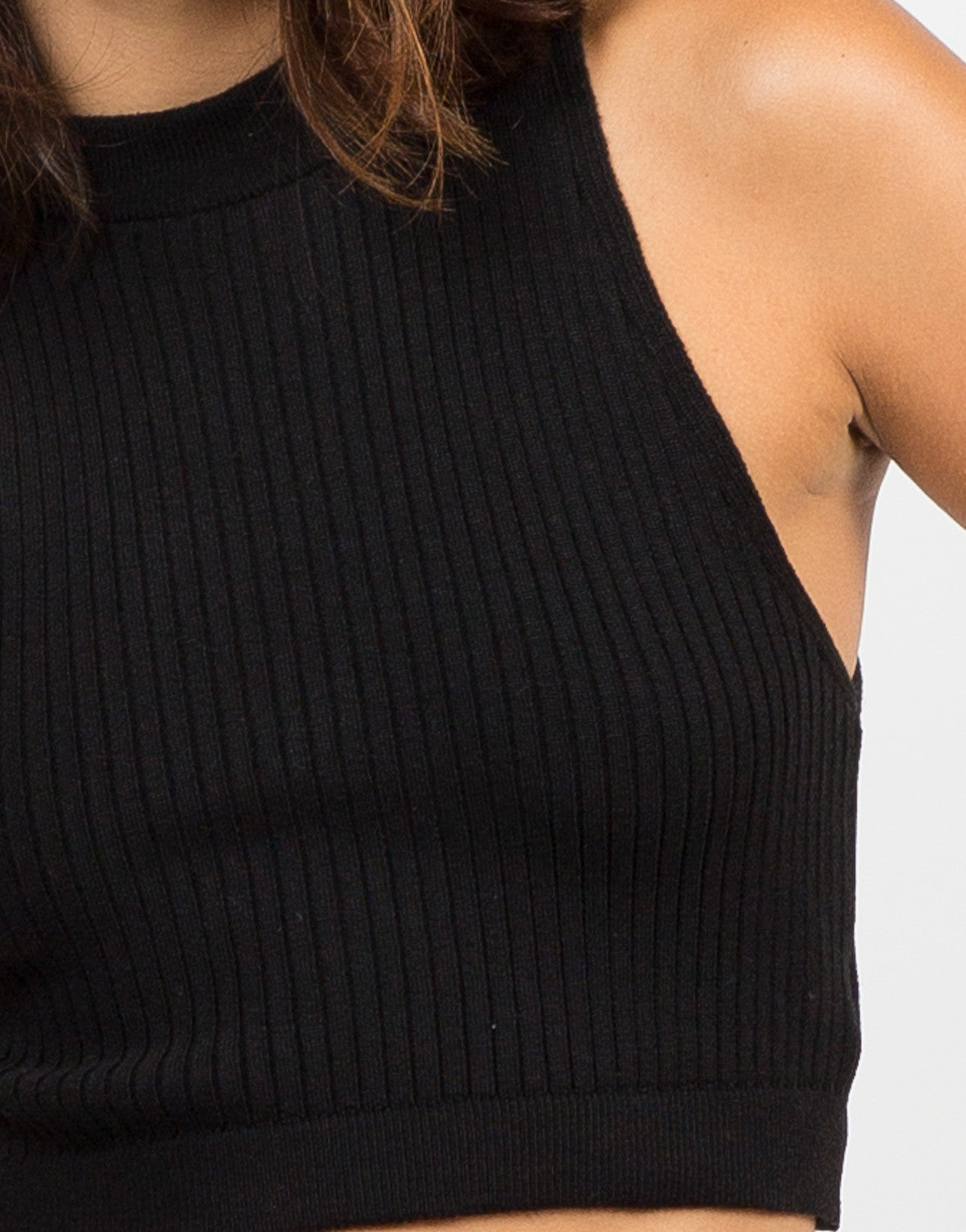 Ribbed Mock Neck Cropped Top - Black - 2020AVE