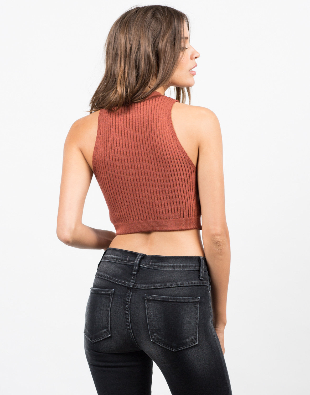 Back View of Ribbed Mock Neck Cropped Top - Brick