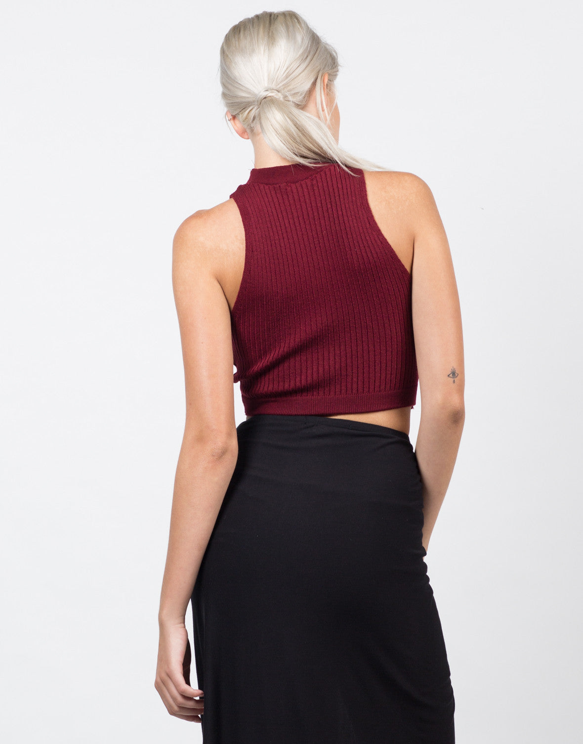 Back View of Ribbed Mock Neck Cropped Top - Burgundy