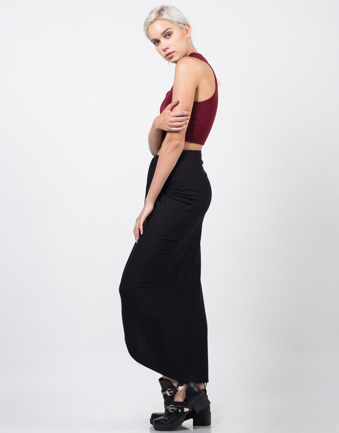 Side View of Ribbed Mock Neck Cropped Top - Burgundy
