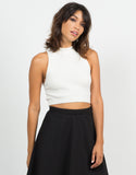 Ribbed Mock Neck Cropped Top - Ivory - 2020AVE