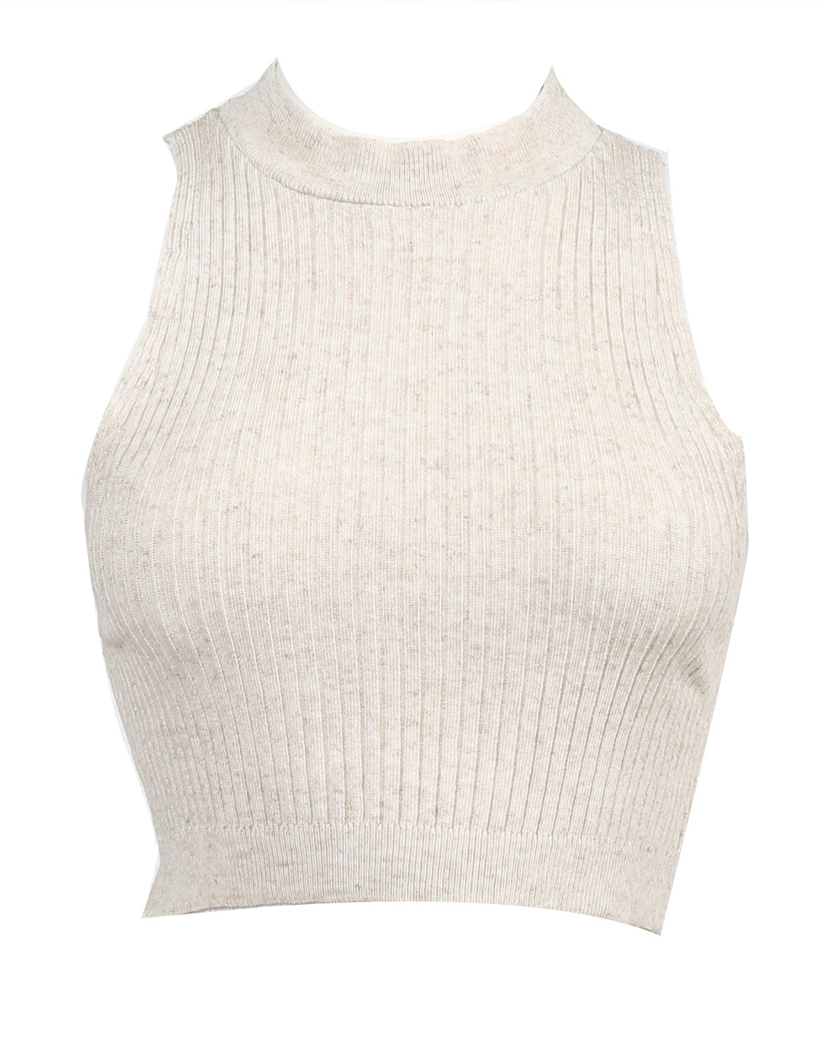 Ribbed Mock Neck Cropped Top - Oatmeal - Large