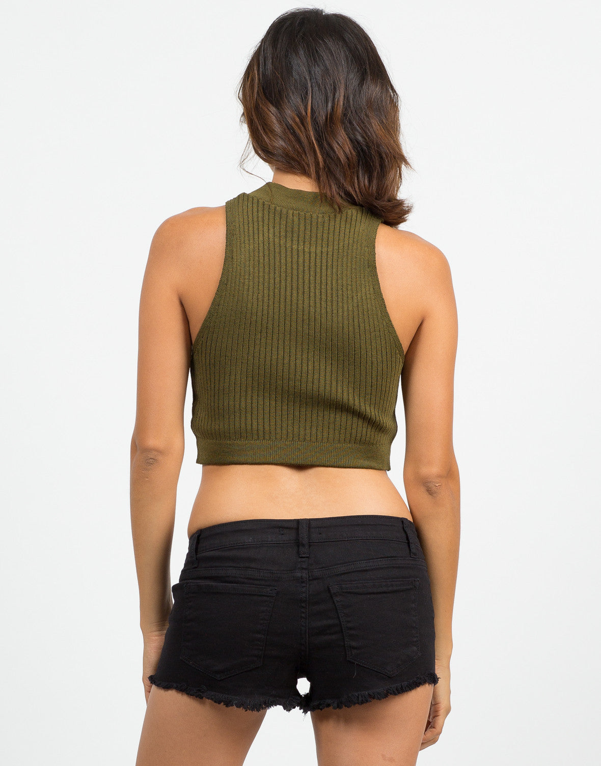 Back View of Ribbed Mock Neck Cropped Top - Olive