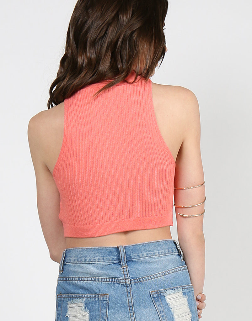 Ribbed Mock Neck Cropped Top - Coral - 2020AVE