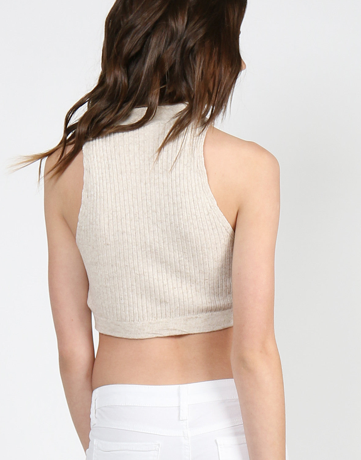 Ribbed Mock Neck Cropped Top - Oatmeal