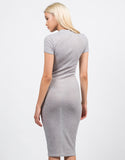 Back View of Ribbed Mock Neck Midi Dress