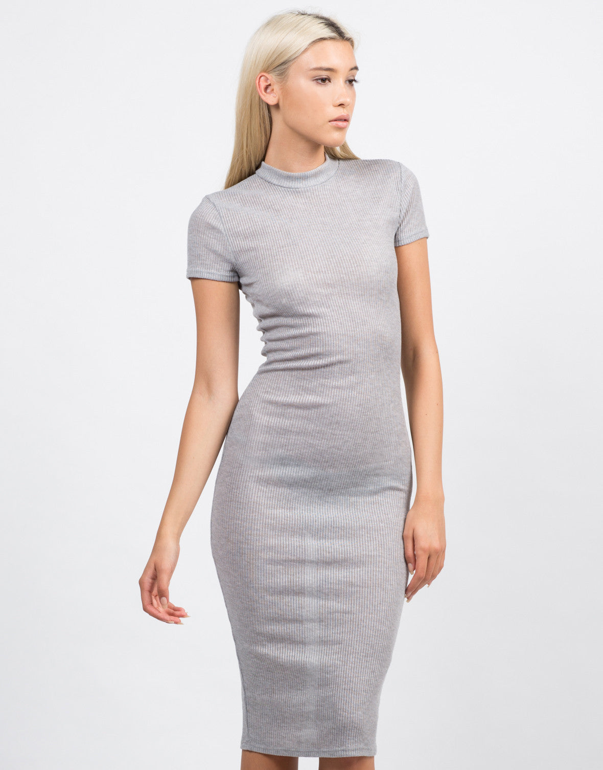 Front View of Ribbed Mock Neck Midi Dress