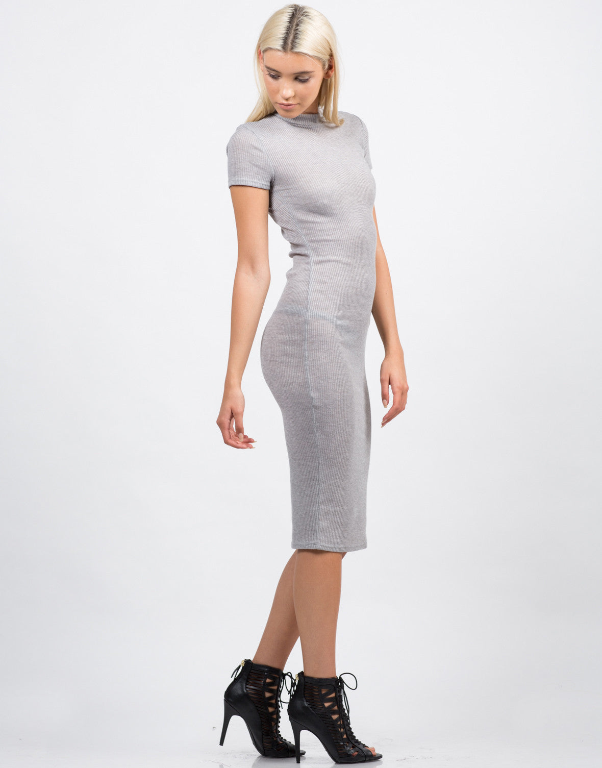 Side View of Ribbed Mock Neck Midi Dress