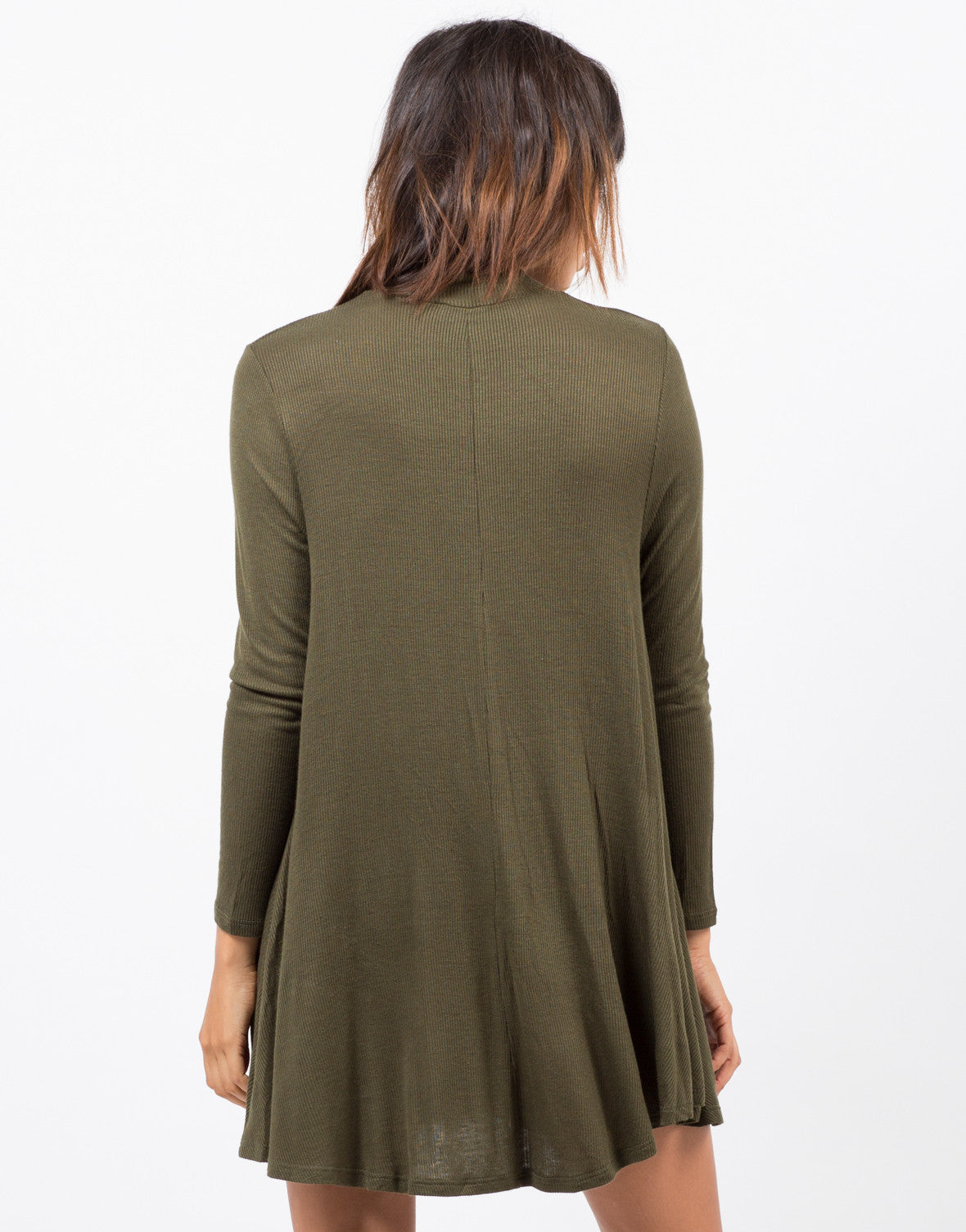 Back View of Back View of Ribbed Mock Neck Dress