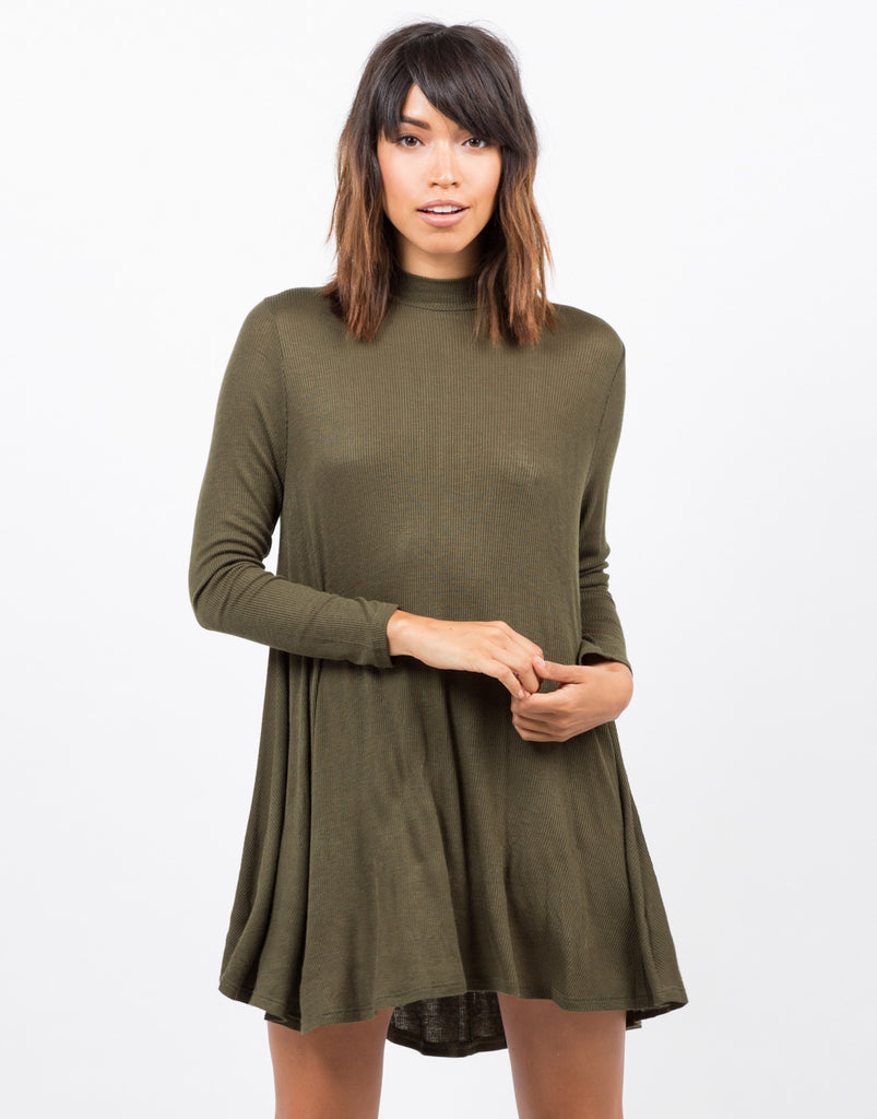 Ribbed Mock Neck Swing Dress - 2020AVE